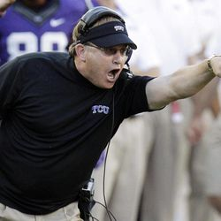 TCU head coach Gary Patterson yells from the sideline during the first half of an NCAA college football game against Grambling State in Fort Worth, Texas, Saturday, Sept. 8, 2012.