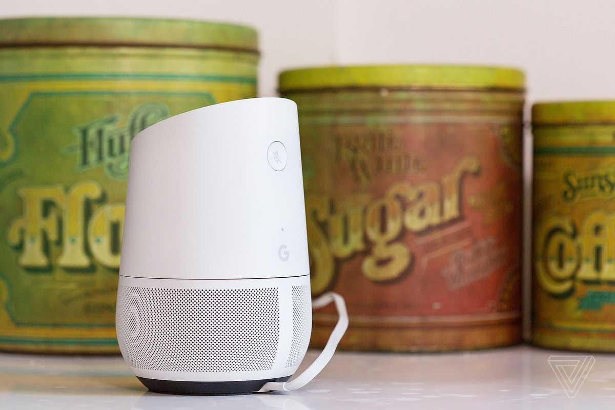 Google Home speaker in front of sugar cans