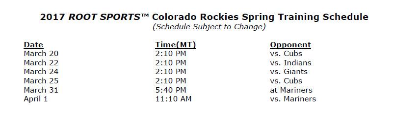 Colorado Rockies' 2017 TV and radio schedules announced - Purple Row
