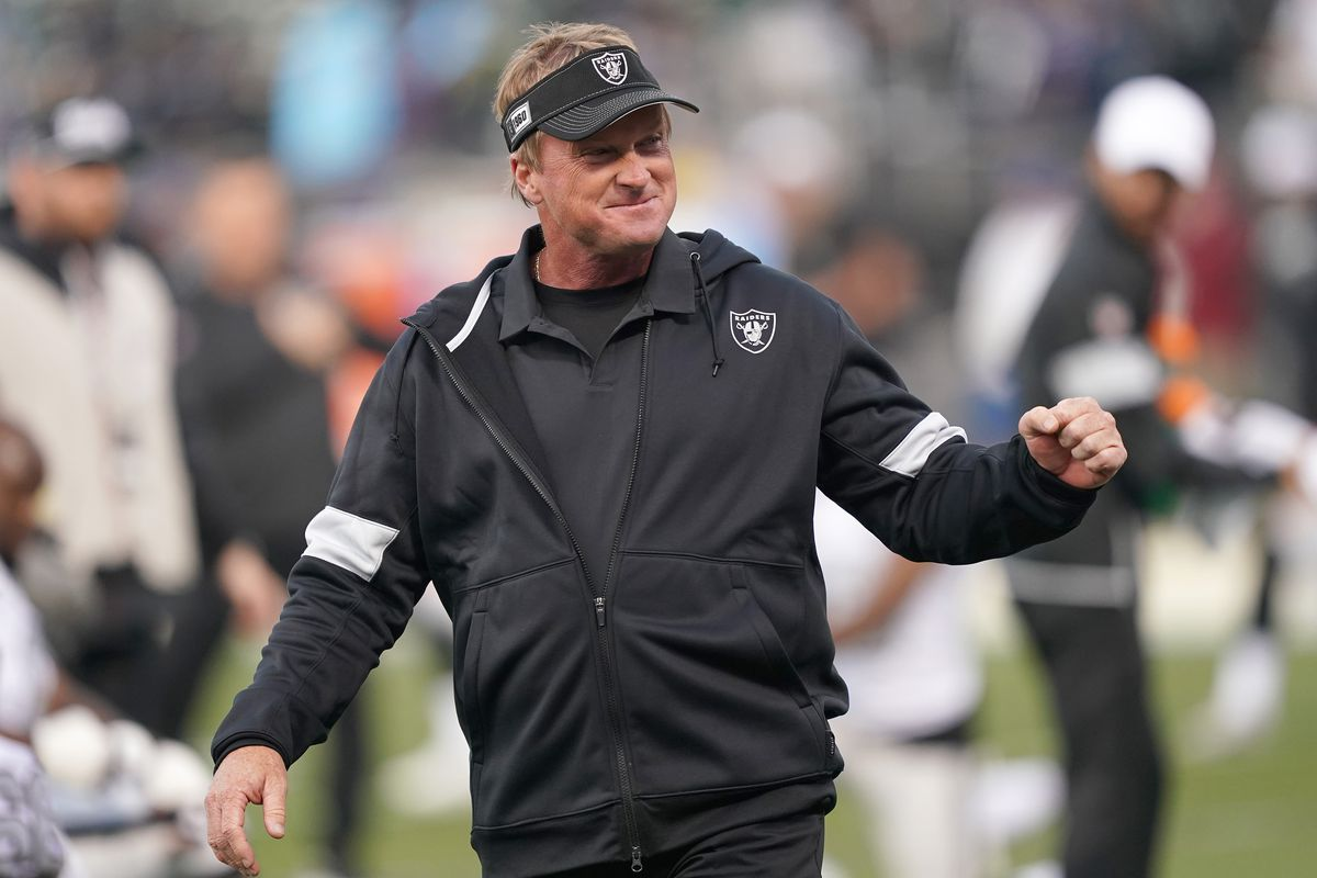 Head coach Jon Gruden of the Oakland Raiders looks on during pregame warm ups prior to the start of an NFL football game against the Los Angeles Chargers at RingCentral Coliseum on November 07, 2019 in Oakland, California.