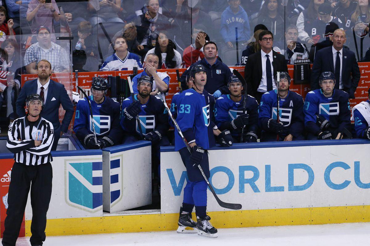 Hockey: World Cup of Hockey-Team Europe vs Team USA, zdeno chara at the bench