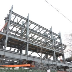 Jumbotron supports in left field -