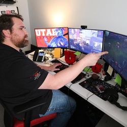 A.J. Dimick, University of Utah Game Studio Relations, talks about the program in Salt Lake City on Wednesday, April 5, 2017. Utah and it's nationally ranked Entertainment Arts & Engineering video game development program announced Wednesday that it is forming the U.'s first college-sponsored varsity esports program.