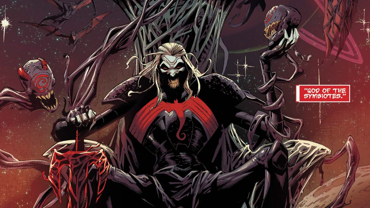 Knull, god of the symbiotes, seated on a throne with his blade, All-Black the Necrosword, surrounded by his mind controlled children, in Venom #4, Marvel Comics (2018).