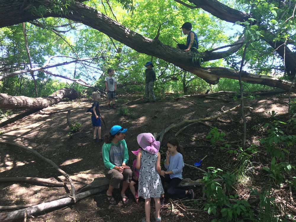 Megan Patterson, the founder of Worldmind Nature Immersion School, talks with two children while others play nearby.