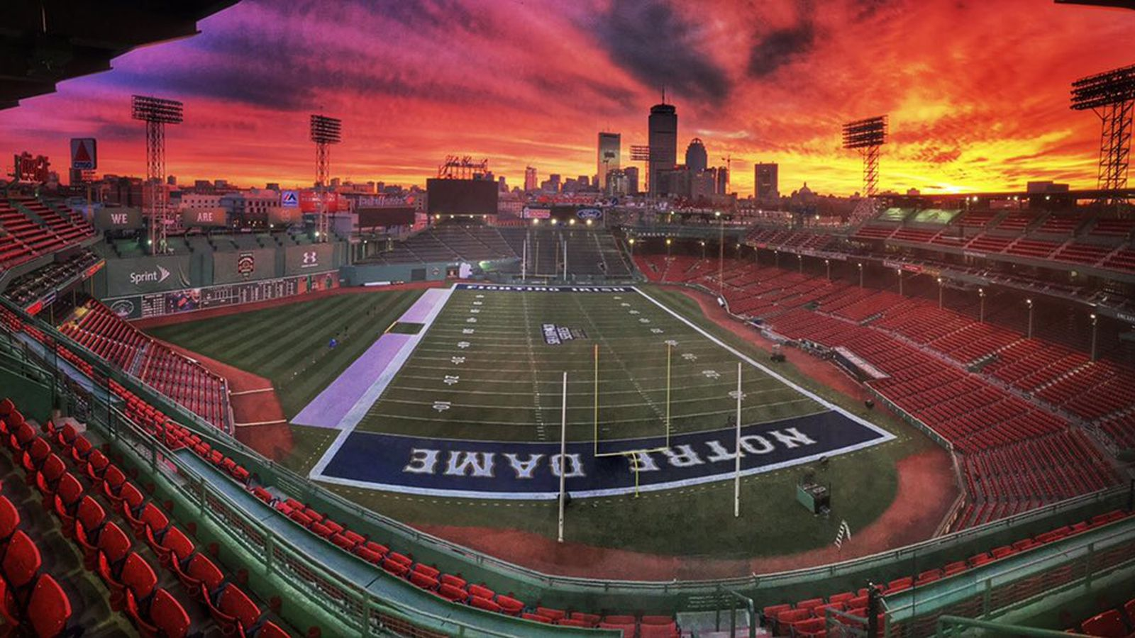 See Fenway Park converted into a football field for the ...