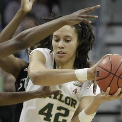 Baylor center Brittney Griner (42) looks for and opening during the second half in the NCAA women's Final Four semifinal college basketball game against Stanford, in Denver, Sunday, April 1, 2012.