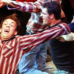"""Don Farmer does some athletic dancing in the """"Footloose"""" ensemble at Hale Centre Theatre."""