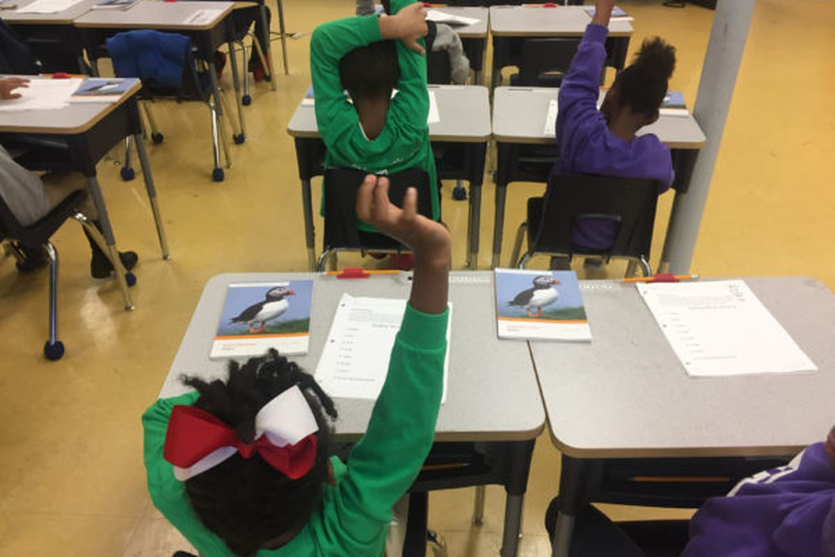 Students at Memphis Delta Preparatory, a charter school, are seated for class.
