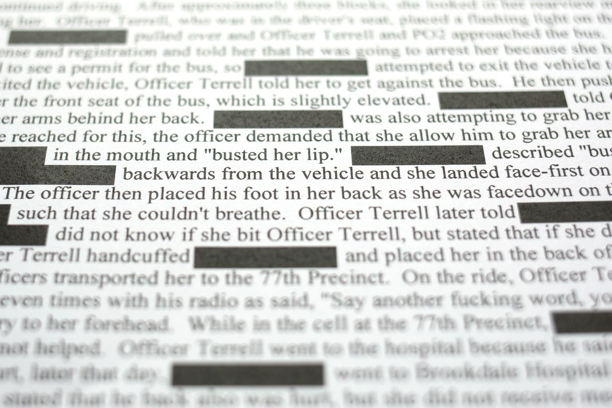Part of a 2007 CCRB complaint against Detective David Terrell.