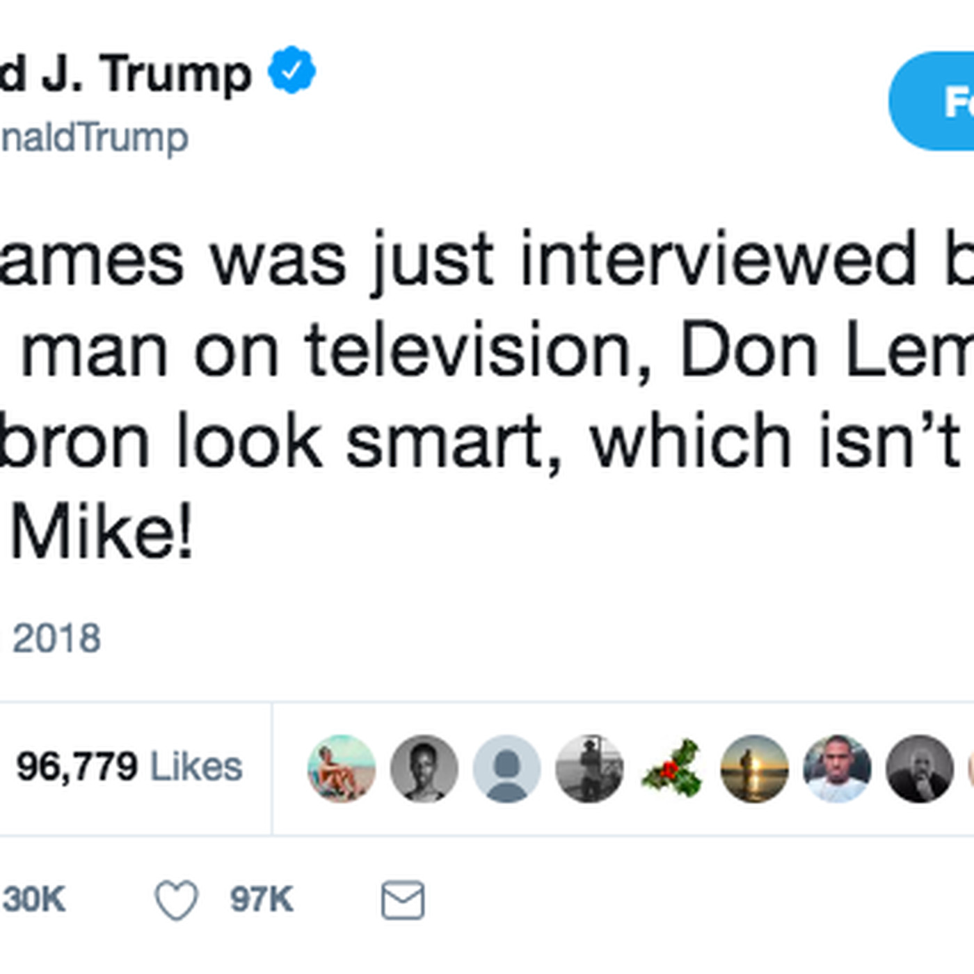 6a97e386a37a Trump attacks LeBron James — and Don Lemon — in a tweet - Vox