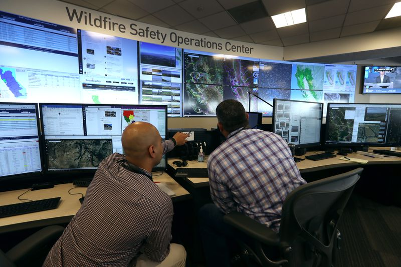 PG&E's wildfire operations center.