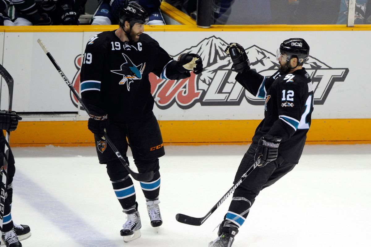 Predictably, Marleau attempts a high-five when Thornton is clearly going for the fist-bump.
