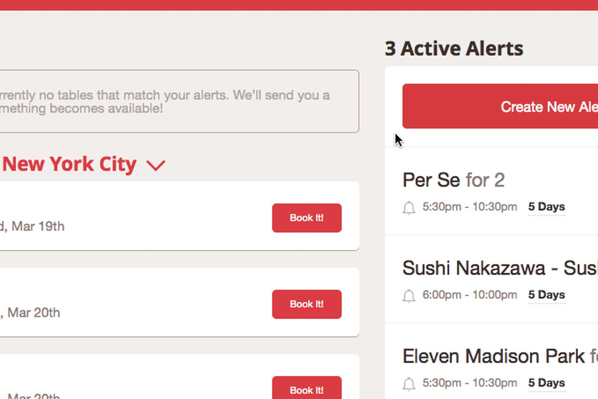OpenTable Launches Alerts For Impossible Reservations Eater - Table reservation in restaurant