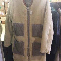 Shearling coat, $822