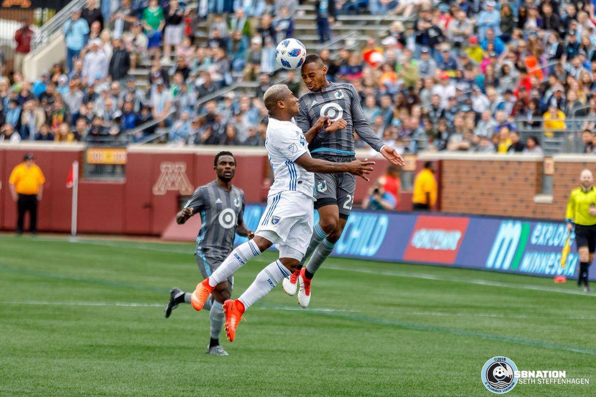 May 12, 2018 - Minneapolis, Minnesota, United States - Minnesota United forward Mason Toye (23) wins a header over San Jose defender Harold Cummings (31) during the match against the San Jose Earthquakes at TCF Bank Stadium.