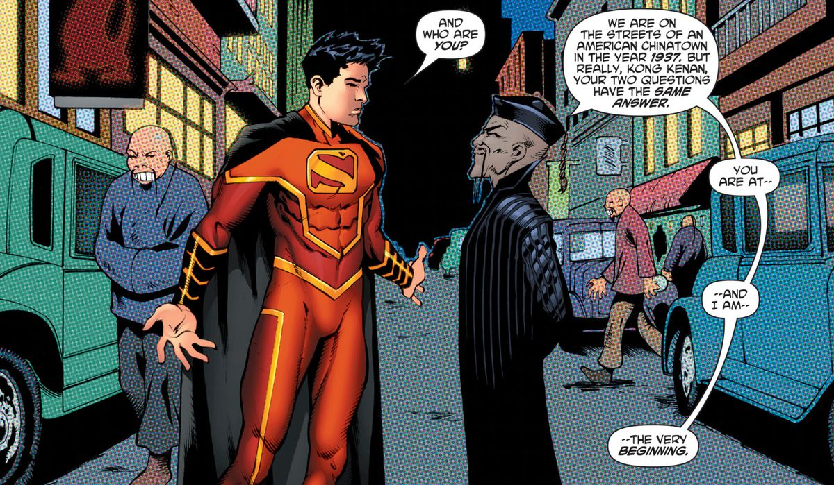 """""""And who are you?"""" Kong Kenan/Super-Man asks of a robed Asian man with a Fu Manchu moustache. """"You are at — and I am — the very beginning,"""" answers the man in New Super-Man #15 (2017)."""