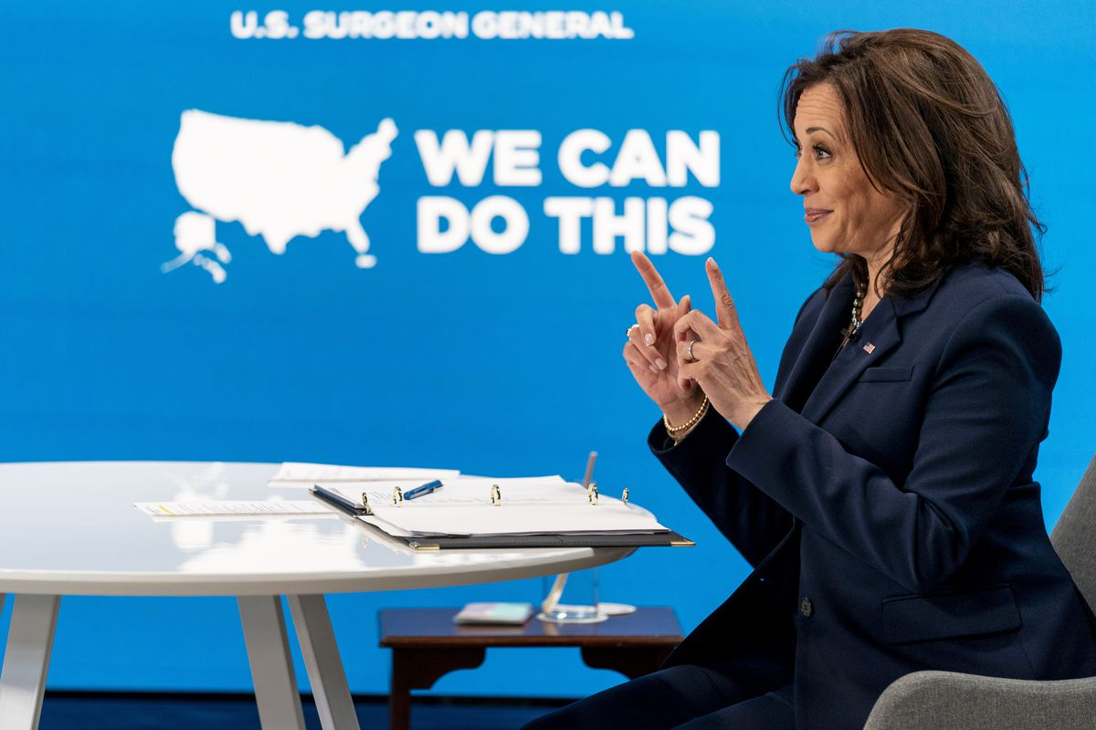 Vice President Kamala Harris speaks during a virtual meeting with community leaders to discuss COVID-19 public education efforts in the South Court Auditorium in the Eisenhower Executive Office Building on the White House Campus, Thursday, April 1, 2021, in Washington.
