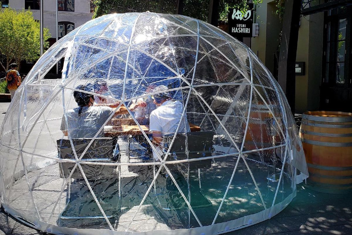 """Hashiri's """"garden igloos"""" seat four during a two-hour, five course meal"""