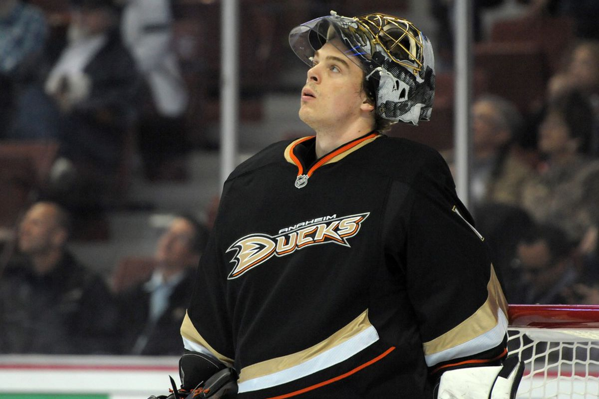 Mar 21, 2012; Anaheim, CA, USA; Anaheim Ducks goalie Jonas Hiller (1) reacts during the game against the St. Louis Blues at the Honda Center. The Ducks defeated the Blues, 4-3. Mandatory Credit: Kirby Lee/Image of Sport-US PRESSWIRE