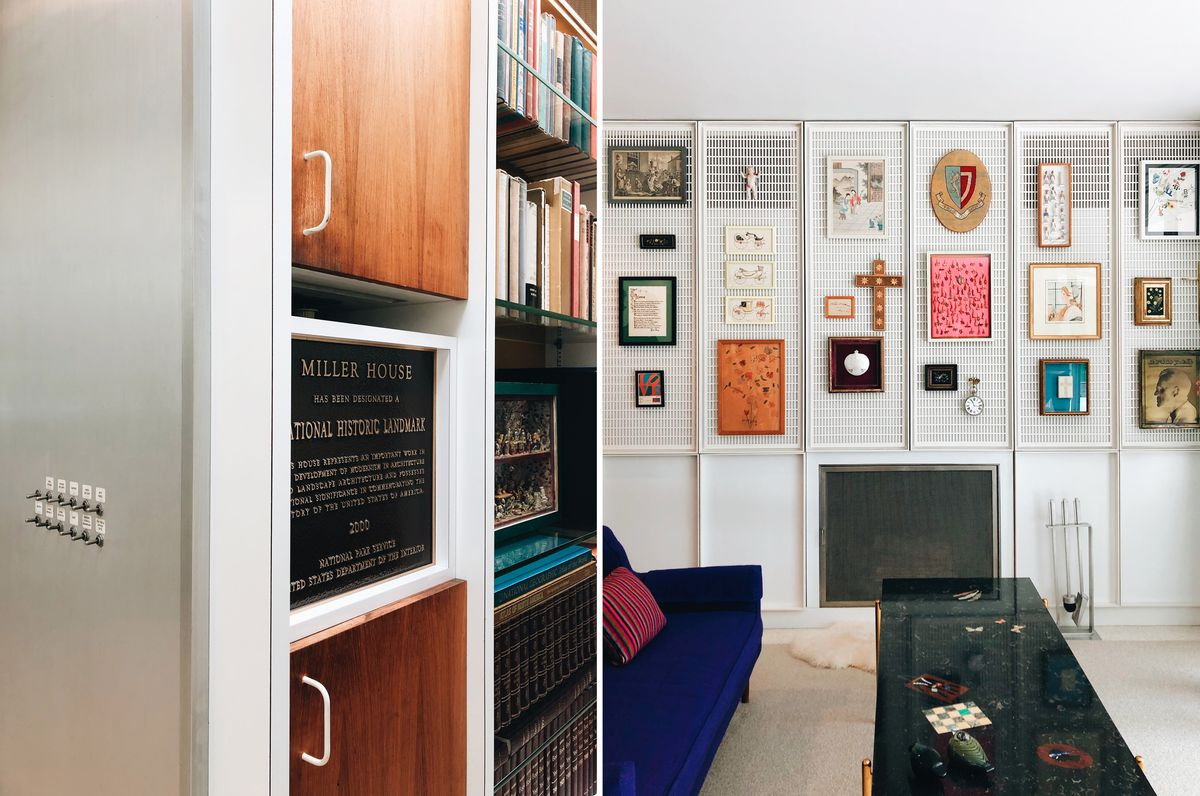 Two side-by-side images: At left, a detail shot of the national historic register plaque—set into a wall of shelving. At right, a bright white, mesh wall holds an array of art and artifacts.