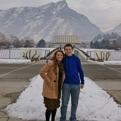 Marissa and Miles Anderson smile in front of the Provo Temple before Marissa enters the MTC in 2013.