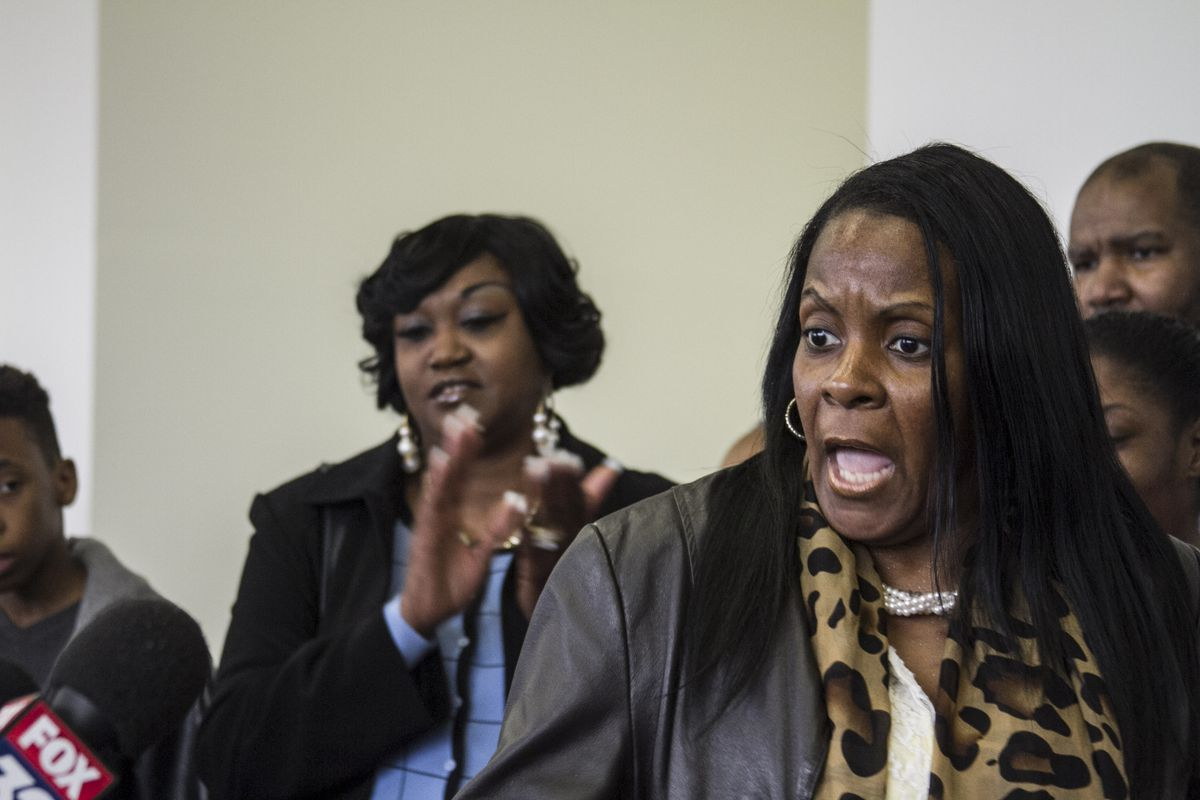 Rosalind Harvey, mother of a CPS student, reacted angrily after the court hearing at which a judge rejected The Chicago Board of Education's bid for a preliminary injunction over how the state funds school districts. | Maria Cardona/Sun-Times