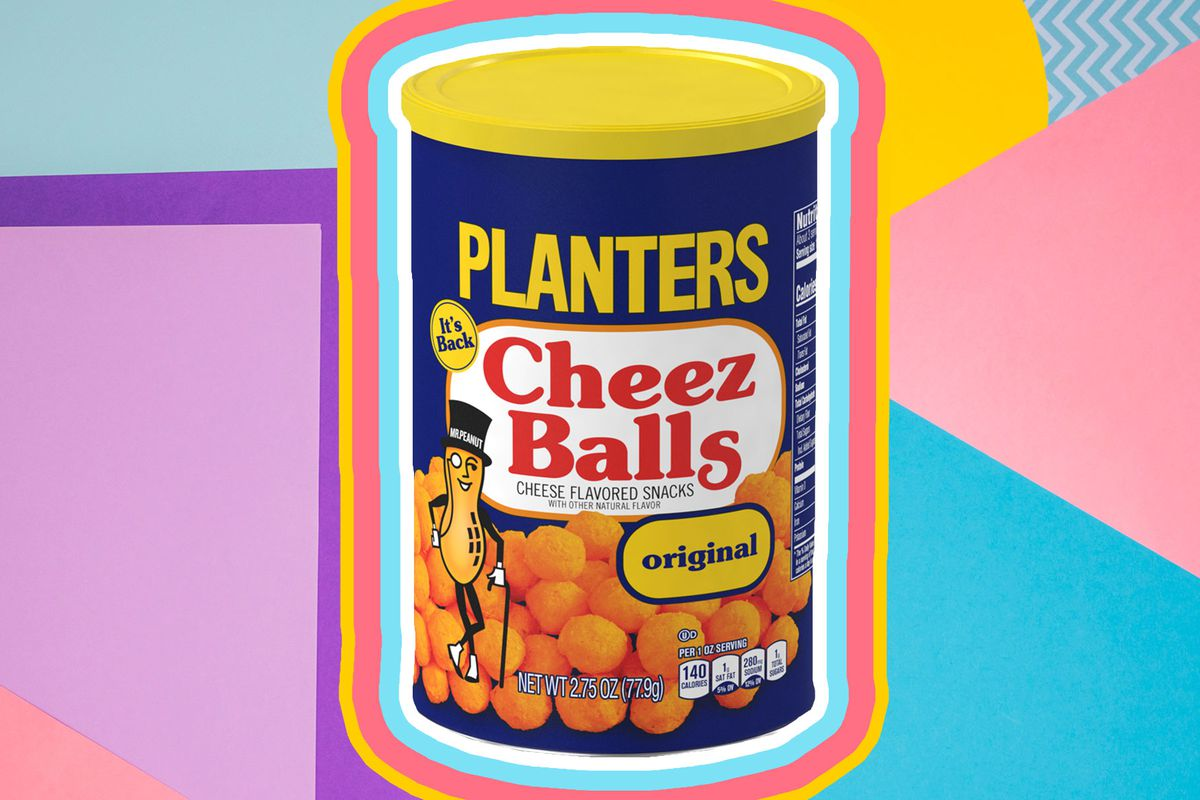 A canister of Planters Cheez Balls with a colorful '90s background.