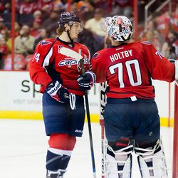 Carlson and Holtby Speak During Stop