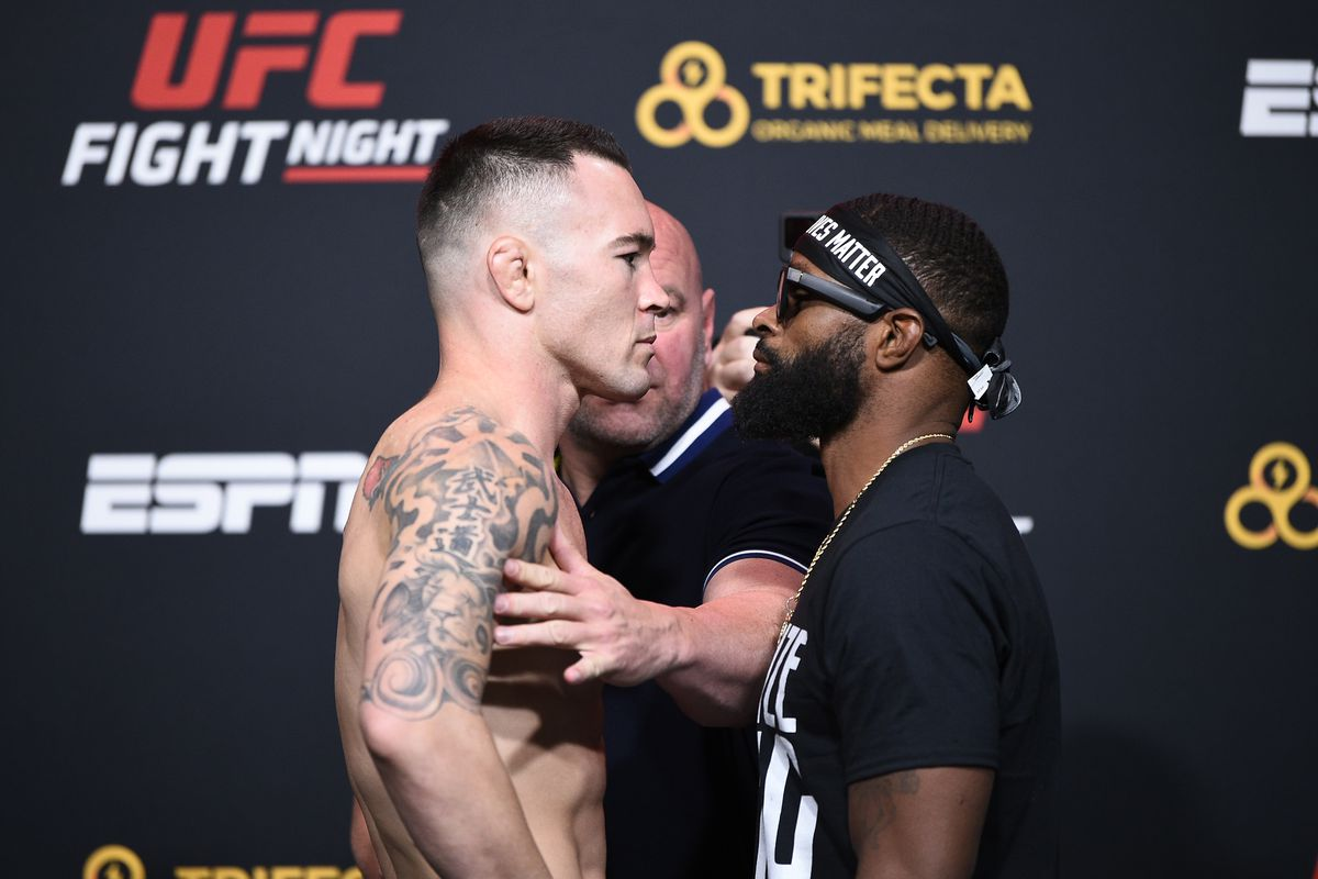 Colby Covington and Tyron Woodley face off during the UFC Fight Night weigh-in at UFC APEX on September 18, 2020 in Las Vegas, Nevada.
