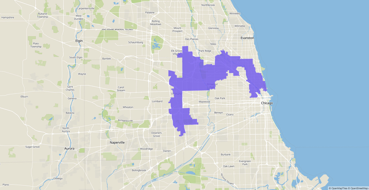 5th Congressional District map, U.S. House of Representatives, Illinois