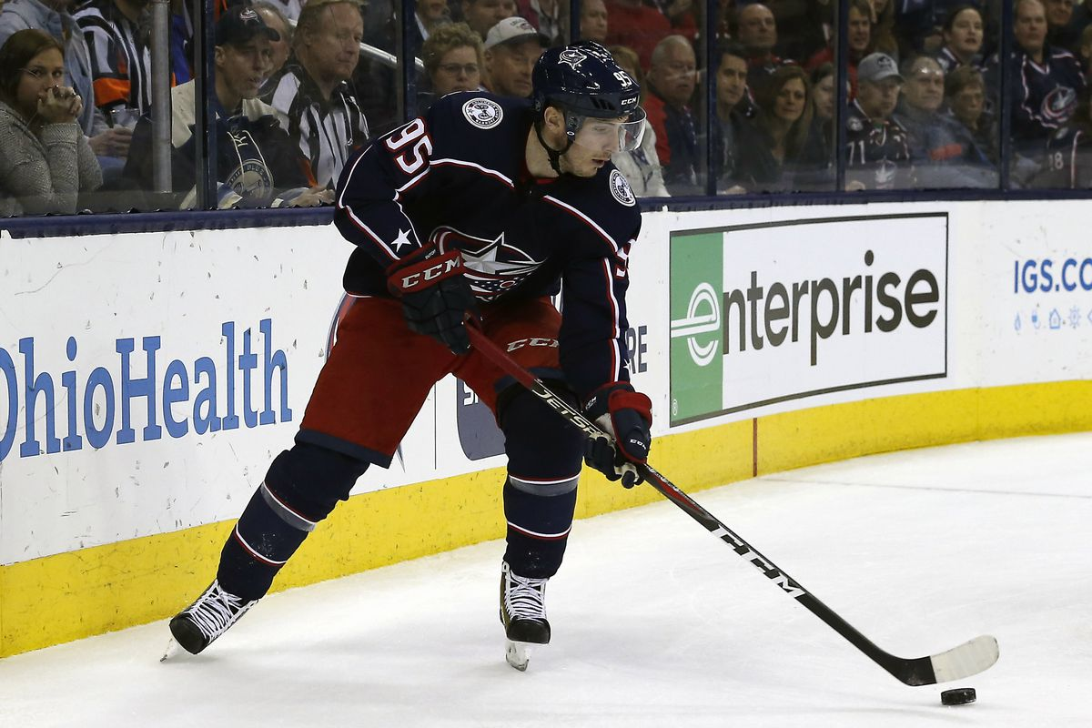 Apr 2, 2019; Columbus, OH, USA; Columbus Blue Jackets center Matt Duchene (95) looks to pass against the Boston Bruins during the second period at Nationwide Arena. Mandatory Credit: Russell LaBounty