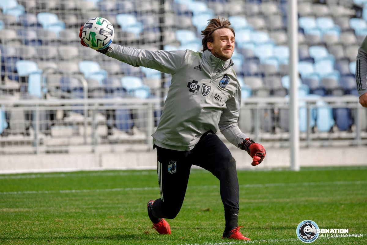 March 10, 2020 - Saint Paul, Minnesota, United States - Minnesota United goalkeeper Tyler Miller (1) throws the ball back into play during the Loon's first team practice at Allianz Field.