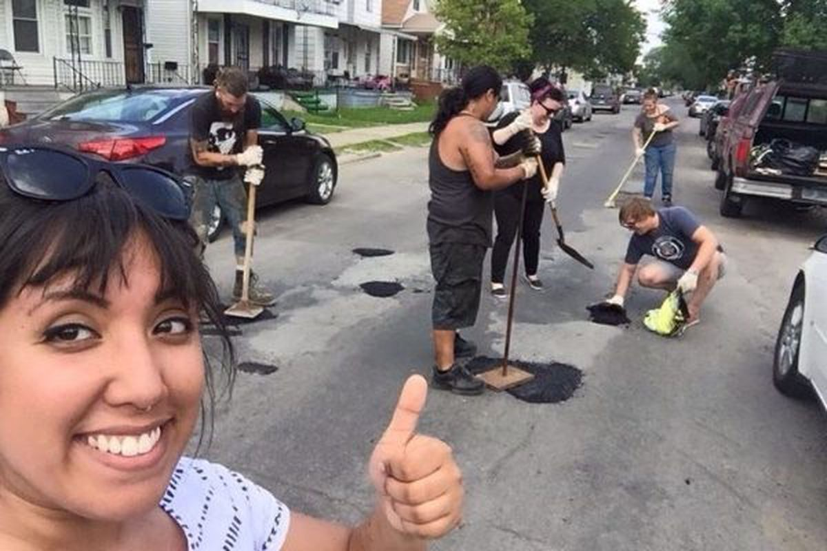 """<span class=""""credit"""">Photo via <a href=""""http://www.gofundme.com/8r4m7ukx4m"""">Hamtramck Guerilla Road Repair</a> </span> Neighbors band together to fix Hamtramck road."""