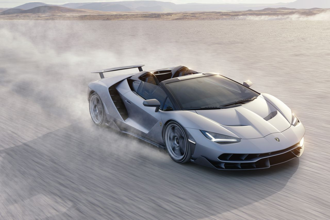 the lamborghini centenario roadster has 770 horsepower of open-top