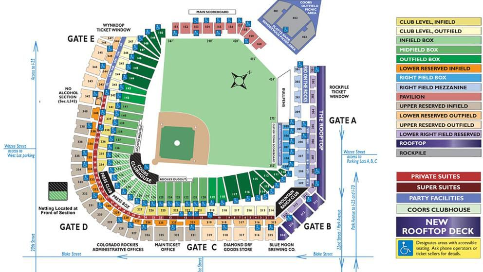 Seating chart at Coors Field