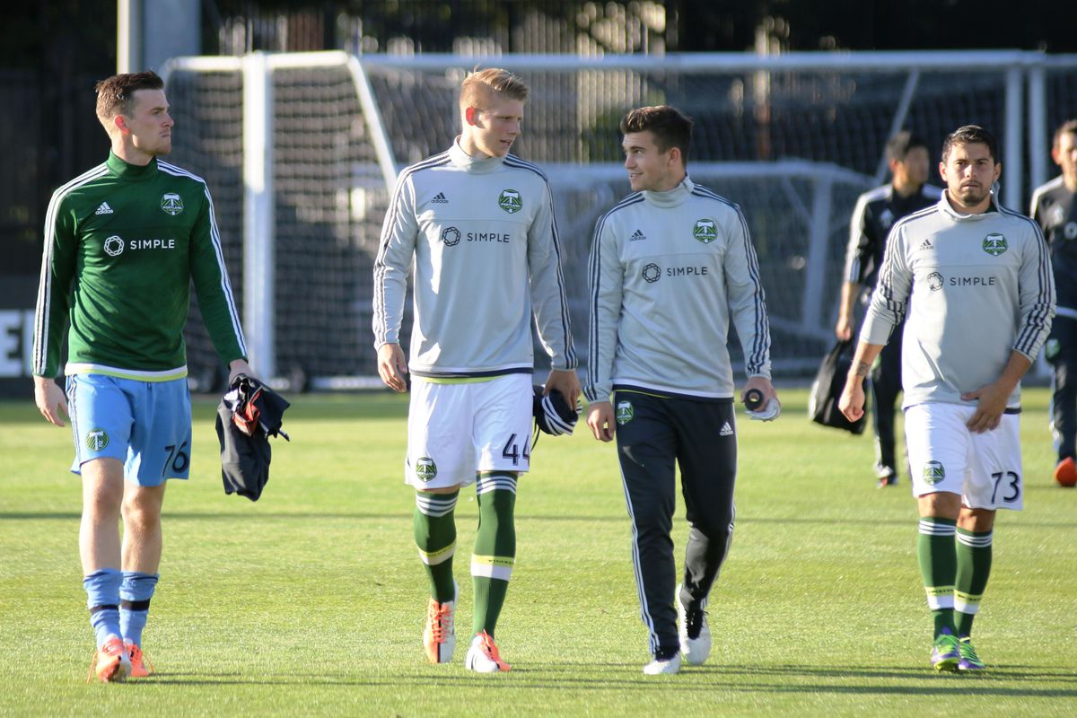 Delbridge (44) arrives with his T2 teammates prior to Sunday's 3-1 victory over Real Monarchs.