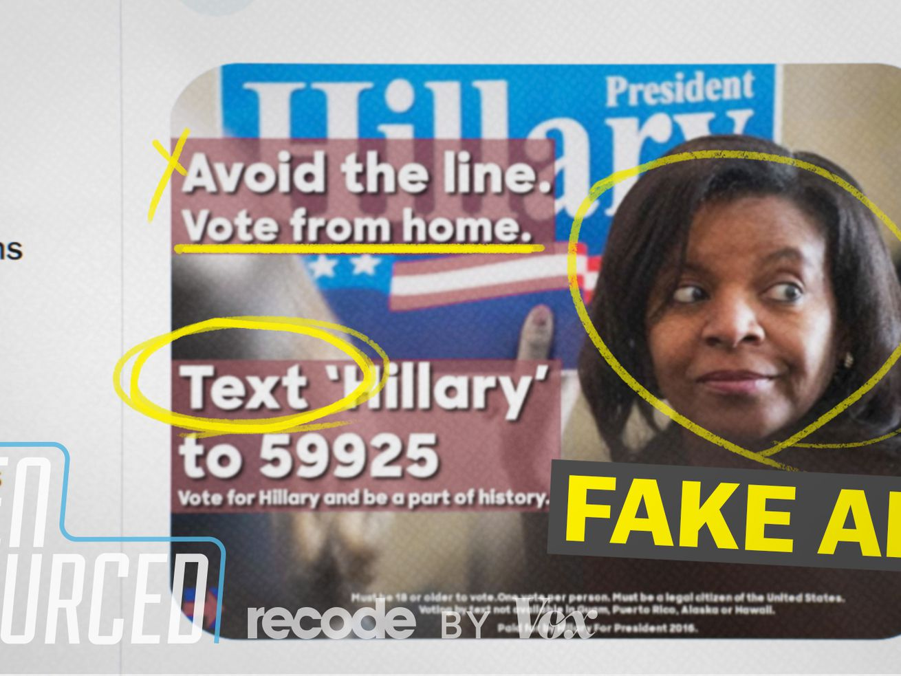 """A fake ad from the 2016 election claimed encouraged people to """"vote"""" by text."""