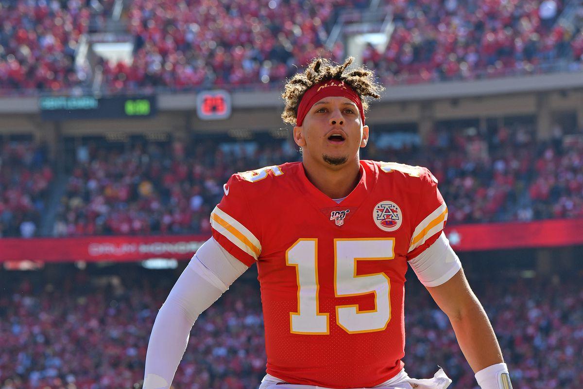 Quarterback Patrick Mahomes of the Kansas City Chiefs reacts prior to a game against the Houston Texans at Arrowhead Stadium on October 13, 2019 in Kansas City, Missouri.