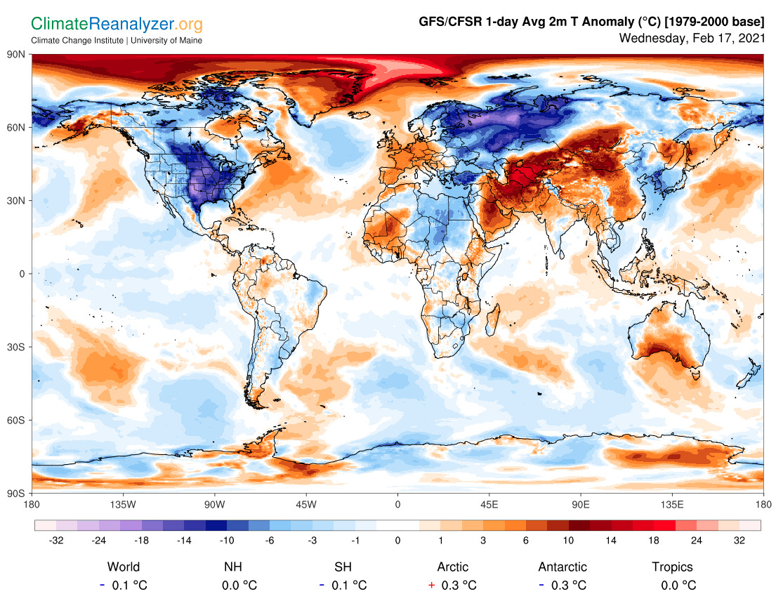 A map displaying global temperature anomalies on February 17, 2021.