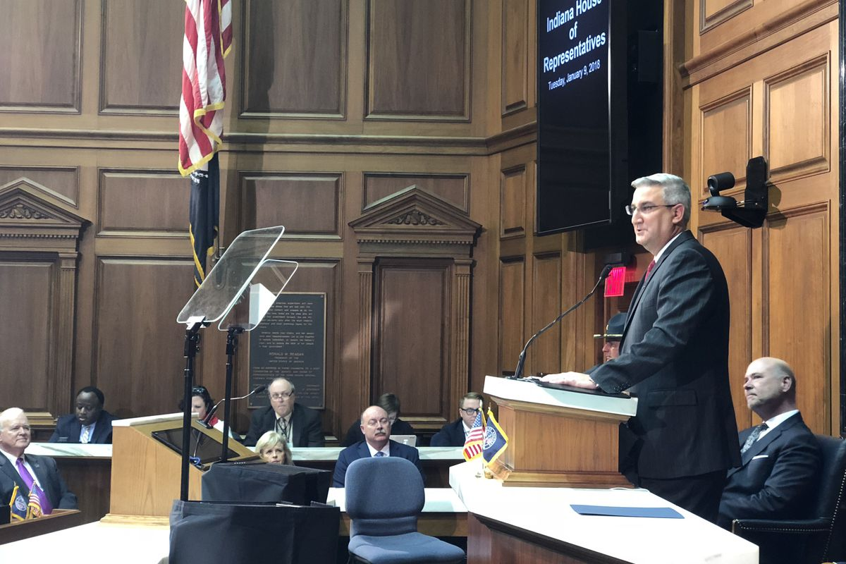 Gov. Eric Holcomb addresses lawmakers during his 2018 State of the State speech.
