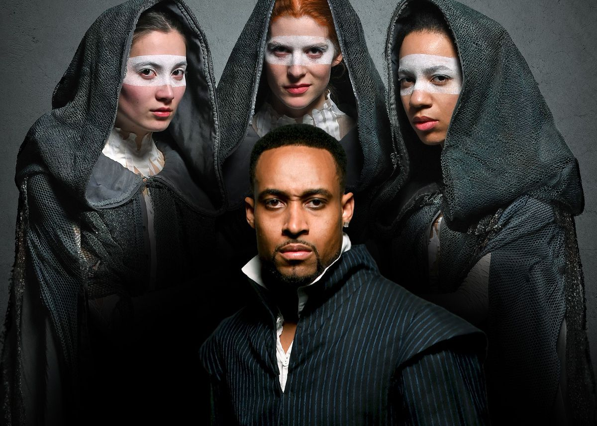 """Amir Abdullah as Macbeth is surrounded by Caroline Chu, Emma Ladji, and Caitlan Taylor as the Weyard Sisters in Chicago Shakespeare Theater's production of """"Short Shakespeare! Macbeth,"""" adapted and directed by Marti Lyons. 