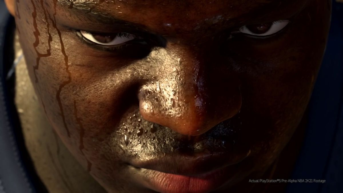 A close up of Zion Williamson's sweaty face.