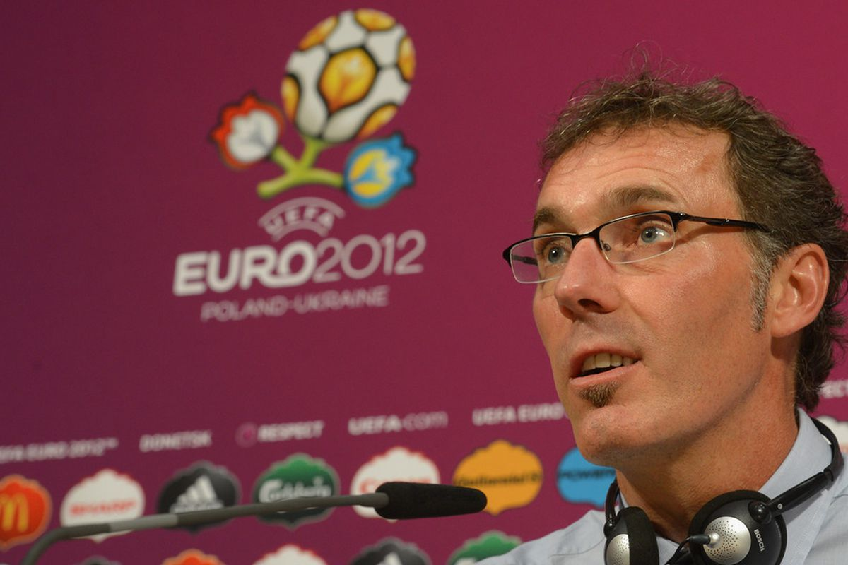 DONETSK, UKRAINE - JUNE 11:  In this handout image provided by UEFA, France coach Laurent Blanc talks to the media during a press conference on June 11, 2012 in Donetsk, Ukraine.  (Photo by Handout/UEFA via Getty Images)