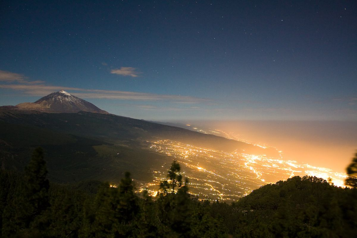 Light pollution obscures the night sky in Tenerife, Spain.