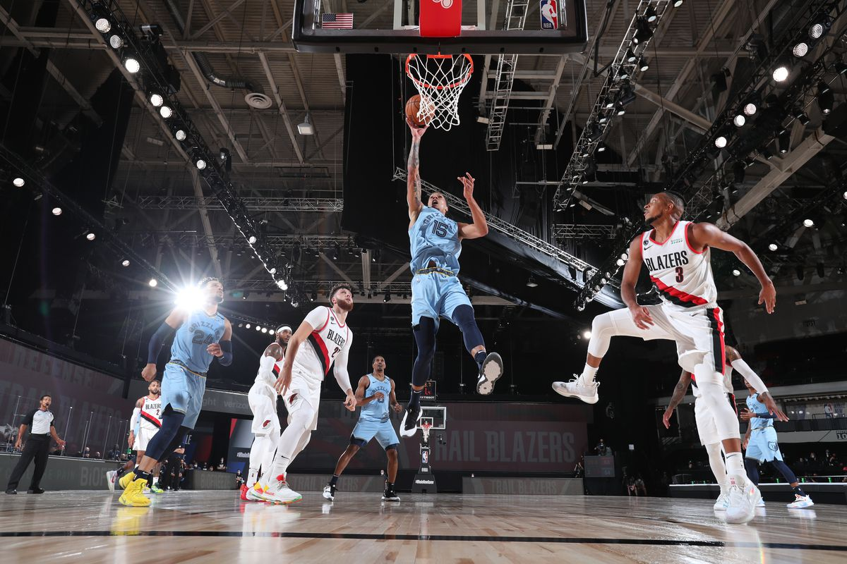 Brandon Clarke of the Memphis Grizzlies shoots the ball against the Portland Trail Blazers on July 31, 2020 at The Arena at ESPN Wide World of Sports in Orlando, Florida.
