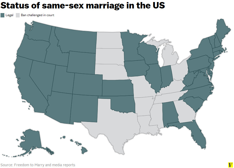 US same-sex marriage map