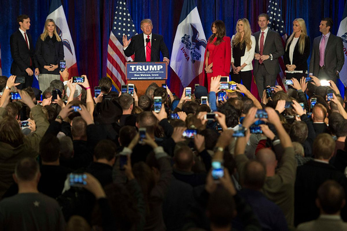 Donald Trump in Iowa after losing to Ted Cruz.
