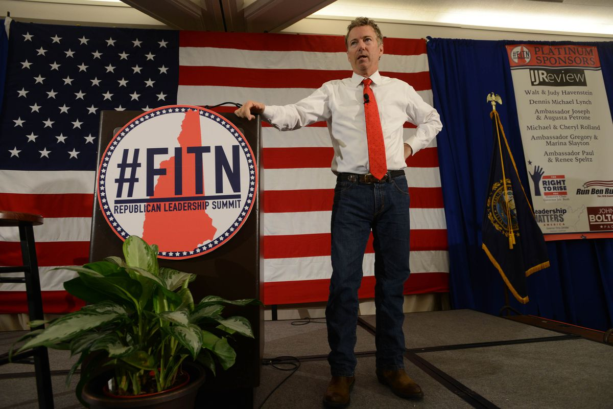 U.S. Sen. Rand Paul (R-KY) speaks at the First in the Nation Republican Leadership Summit April 18, 2015 in Nashua, New Hampshire.