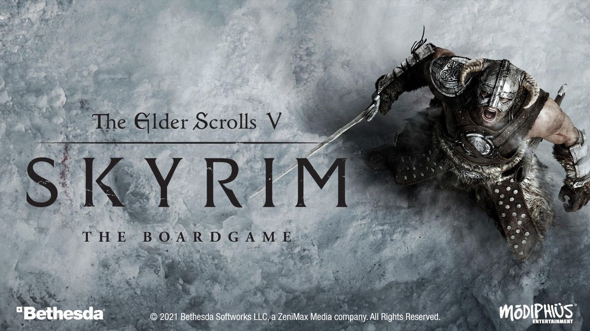 Key art for The Elder Scrolls 5: Skyrim The Board Game shows the Dovakin yelling into the sky after killing a dragon.